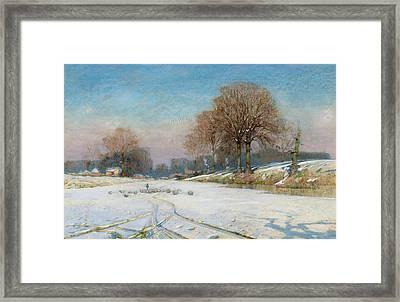 Herding Sheep In Wintertime Framed Print