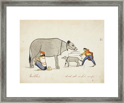 Herdsman Milking A Cow Framed Print by British Library