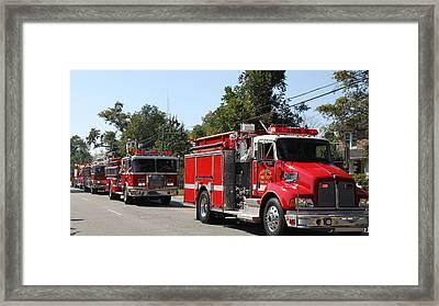 Here Come The Firetrucks Framed Print by Carolyn Ricks