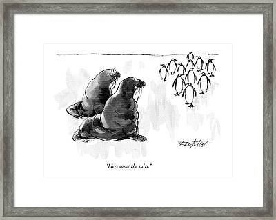 Here Come The Suits Framed Print by Mischa Richter