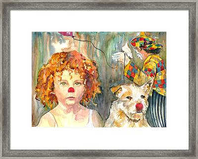 Framed Print featuring the painting Here Comes The Clowns by P Maure Bausch