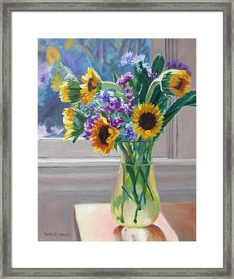 Here Comes The Sun- Sunflowers By The Window Framed Print