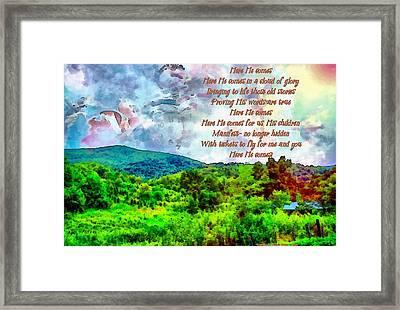 Here He Comes Framed Print by Michelle Greene Wheeler