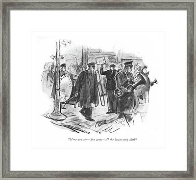 Here You Are - ?ve Cents - All The Latest Song Framed Print by Perry Barlow