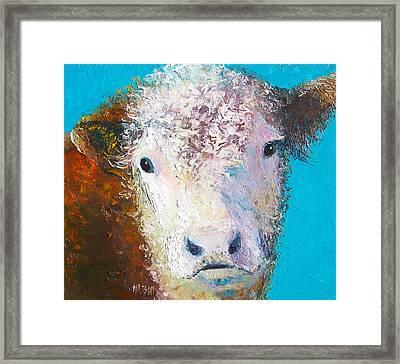 Hereford Cow Named Grace Framed Print