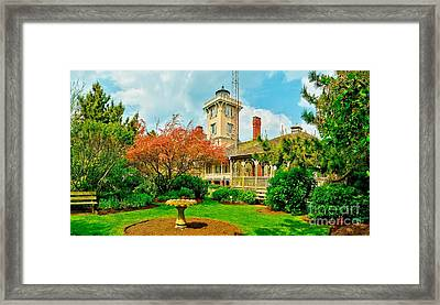 Hereford Inlet Lighthouse Garden Framed Print by Nick Zelinsky