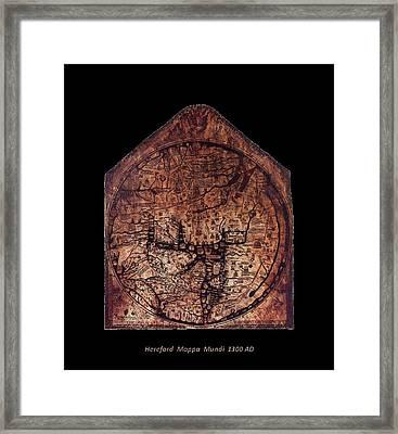 Hereford Mappa Mundi 1300 Text Label Medium Black Border Framed Print by L Brown