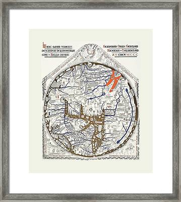 Hereford Mappa Mundi 1300 With Detail Text Large White Border Framed Print by L Brown
