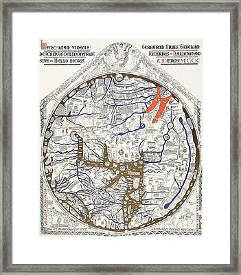 Hereford Mappa Mundi With Detail Upszed  Framed Print by L Brown