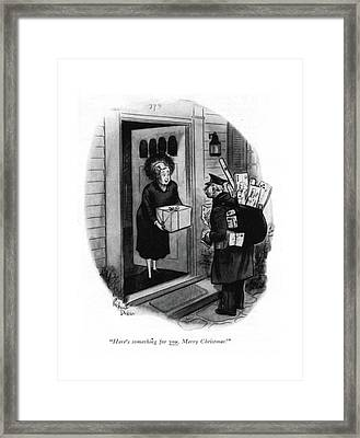 Here's Something For You. Merry Christmas! Framed Print by Richard Decker