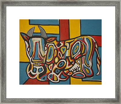 Haring's Cow Framed Print