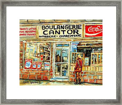 Heritage Montreal Paintings Cantors Bakery Coffee Shop And Deli Coca Cola Signs Winter City Scene Ca Framed Print by Carole Spandau