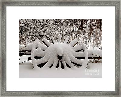 Heritage Wagon Wheel After A Winter Snow Storm Framed Print