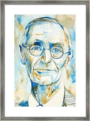 Hermann Hesse Watercolor Portrait.2 Framed Print by Fabrizio Cassetta