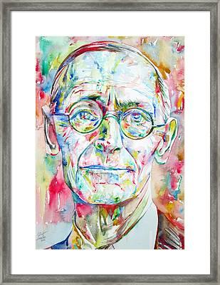 Hermann Hesse Watercolor Portrait.3 Framed Print by Fabrizio Cassetta