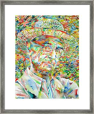 Hermann Hesse With Hat Watercolor Portrait Framed Print by Fabrizio Cassetta