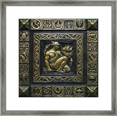 Hermes Bronze Plate Framed Print