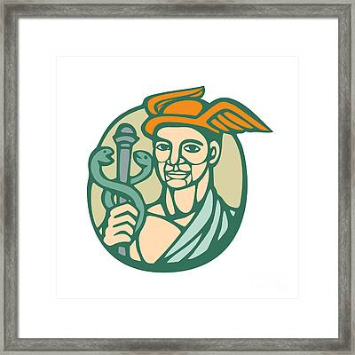 Hermes Holding Cadaceus Woodcut Linocut Framed Print by Aloysius Patrimonio