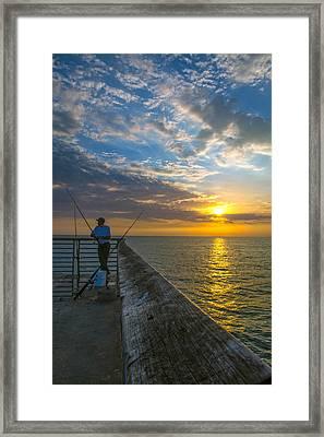 Hermosa Beach Pier I Framed Print by Casey Grant