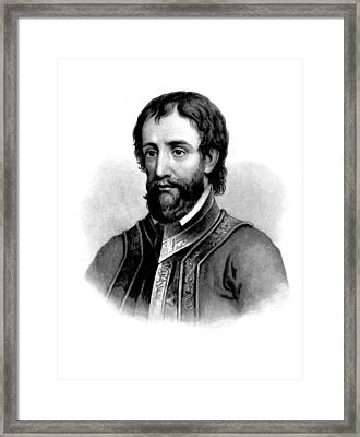 Framed Print featuring the photograph Hernando De Soto, Spanish Conquistador by British Library