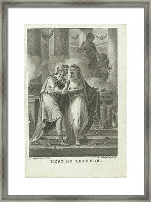 Hero And Leander, Lambertus Antonius Claessens Framed Print
