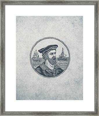 Hero Sea Captain - Nautical Design Framed Print by World Art Prints And Designs