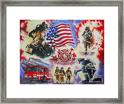 Heroes Collection American Firefighter Framed Print by Andrew Read