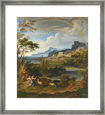 Heroic Landscape With Rainbow Framed Print