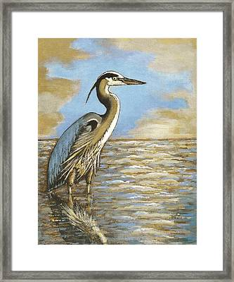 Framed Print featuring the painting Heron At Bay by VLee Watson