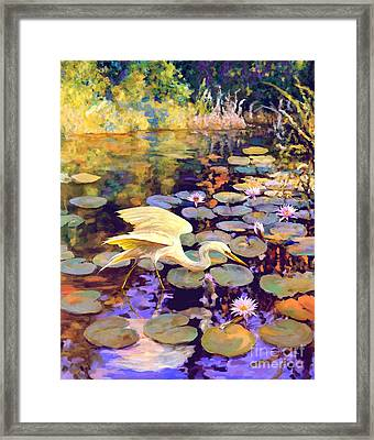 Heron In Lily Pond Framed Print