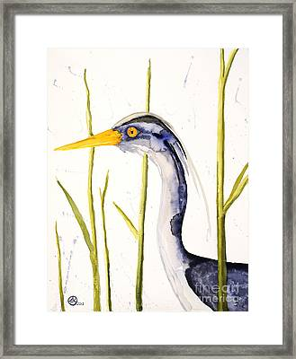 Heron In The Reeds Framed Print