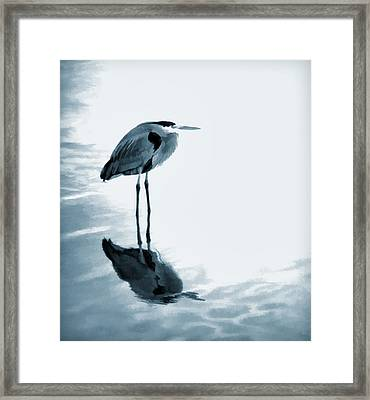 Heron In The Shallows Framed Print