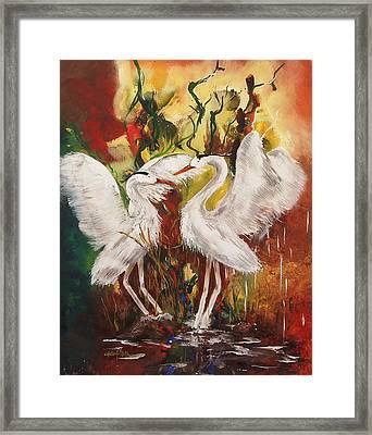 Heron Meeting Framed Print