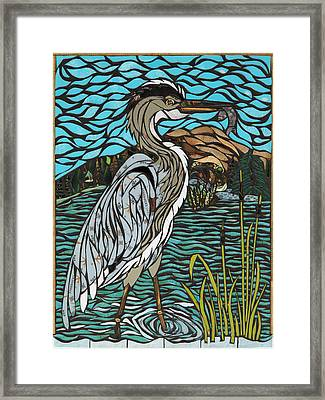 Heron On Connor Creek Framed Print by Mary Ellen Bowers