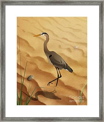 Heron On Golden Sands Framed Print