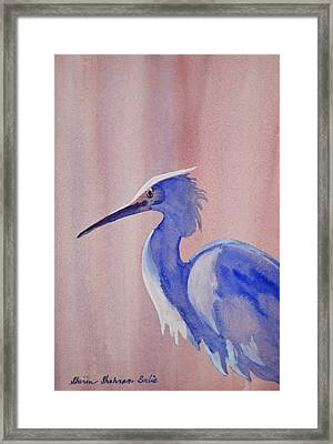 Framed Print featuring the painting Heron by Shirin Shahram Badie