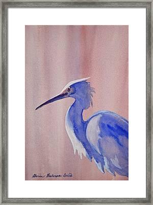 Heron Framed Print by Shirin Shahram Badie
