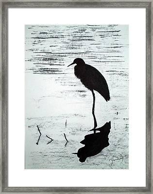 Heron Silhouette Framed Print
