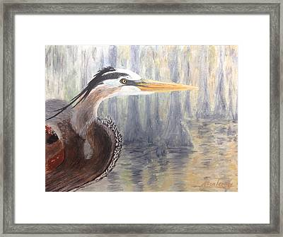 Framed Print featuring the painting Heron by Stan Tenney