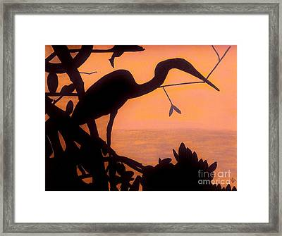 Framed Print featuring the drawing Heron Sunset by D Hackett
