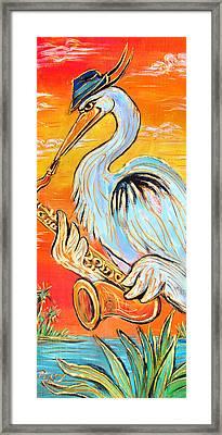 Heron The Blues Framed Print by Robert Ponzio