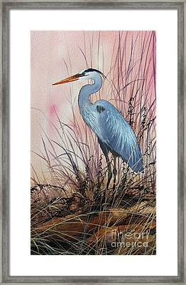 Herons Evening Shore Framed Print by James Williamson