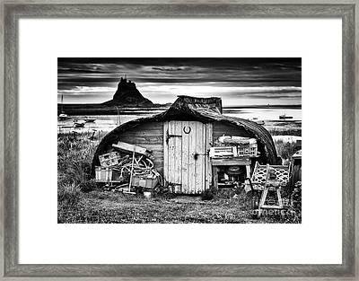 Herring Boat Hut Lindisfarne Monochrome Framed Print by Tim Gainey