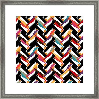 Herringbone Penguin Framed Print by Sharon Turner