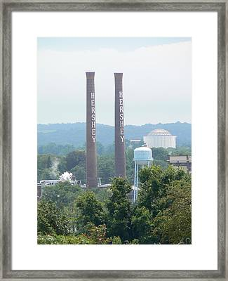 Framed Print featuring the photograph Hershey Smoke Stacks by Michael Porchik