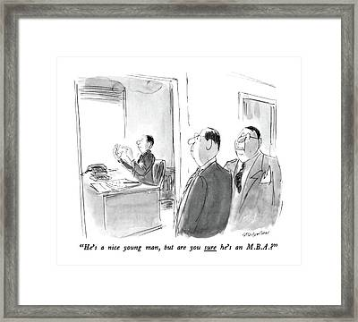 He's A Nice Young Man Framed Print by James Stevenson