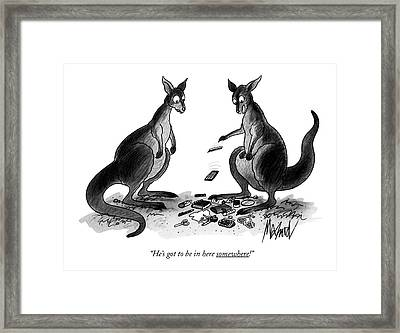 He's Got To Be In Here Somewhere! Framed Print by Kenneth Mahood