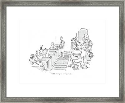 He's Having His Hat Repaired Framed Print