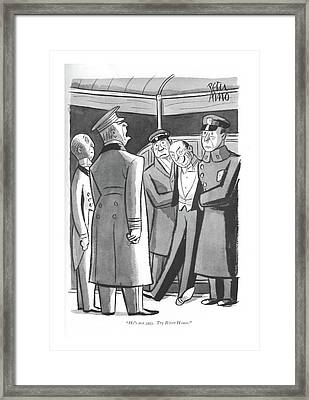 He's Not Ours. Try River House Framed Print by Peter Arno