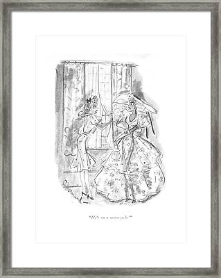 He's On A Motorcycle! Framed Print